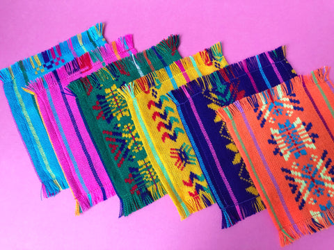 Mexican Fabric COCKTAIL napkins, Bulk Set of 6 tribal assorted colors