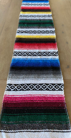 Mexican Rustic rainbow table runner made from Falsa blankets
