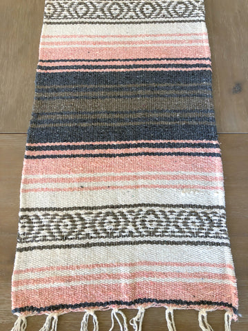 Bohemian Rustic Pastel Table Runner with Fringe