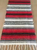 Mexican Rustic red table runner made from Falsa blankets - MesaChic - 2