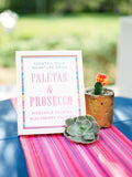 Mexican fabric Table Runner Colorful Pink stripes - MesaChic - 3