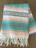 Mexican Falsa Blanket or Table Runner pastel colors - MesaChic - 1