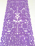 Mexican fabric Table Runner Papel Picado design Light Purple