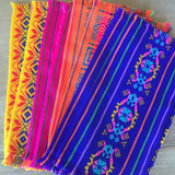 Mexican Fabric napkins, Bulk Set of 6 tribal assorted colors - MesaChic - 2