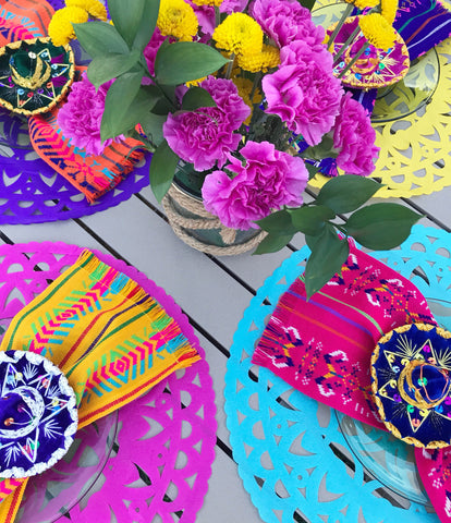 Tissue placemats Mexican Papel Picado, Set of 4
