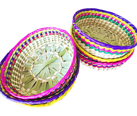 Straw woven Decorative Basket from Mexico - MesaChic - 1