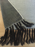 Mexican Rebozo Handwoven black and white with Fringes - MesaChic - 3