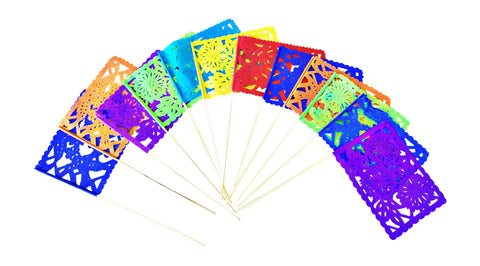 Mexican Papel Picado flags centerpiece, set of 12 - MesaChic - 1