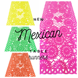 Mexican fabric Table Runner Papel Picado design Lime Green - MesaChic - 2