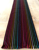 Mexican Fabric Table Runner - Black rainbow stripes