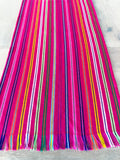 Mexican Fabric Table Runner - Striped raspberry