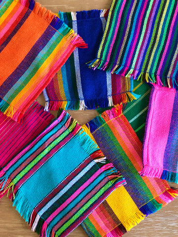 Mexican Fabric COCKTAIL napkins, Bulk Set of 6 striped assorted colors
