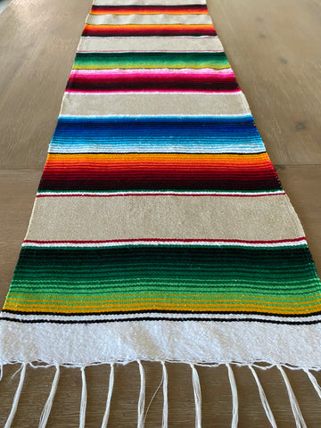 Mexican Serape Table Runner Tan Colorful accents