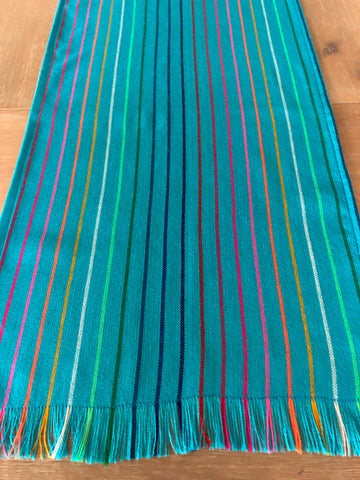 Mexican Fiesta Table Runner or Tablecloth -Turquoise striped