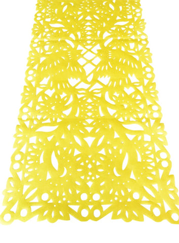 Mexican fabric Table Runner Papel Picado design Yellow