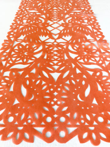 Mexican fabric Table Runner Papel Picado design Orange