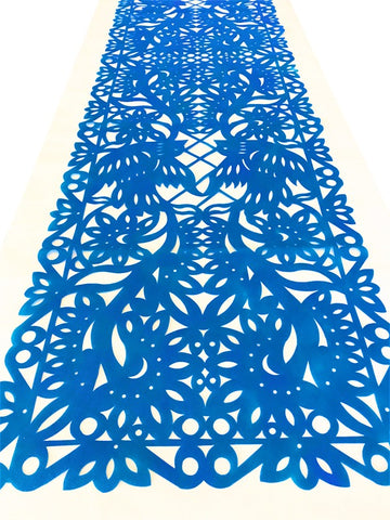 Mexican fabric Table Runner Papel Picado design bright Blue