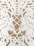 Mexican Papel picado Table Runner in White synthetic Fabric