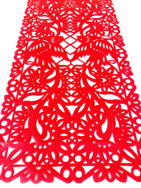 Mexican Fabric Table Runner Papel Picado Design Red Mesachic