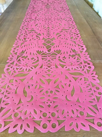 Mexican fabric Table Runner Papel Picado design Pink