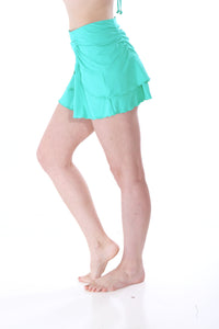 Aqua Asymmetric Layered Skirt Cover Up