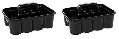 Rubbermaid Commercial Deluxe Carry Cleaning Caddy, Black (2 PACK)