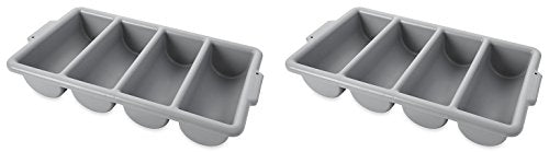 Rubbermaid Commercial FG336200GRAY 4-Compartment Cutlery Bin, Gray (3 PACK)