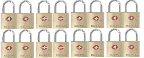 Brinks 161-20471 TSA Approved 22mm Luggage Lock Solid Brass, 4-Pack