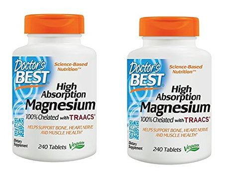 2 Pack Doctor's Best High Absorption Magnesium Glycinate Lysinate, 100% Chelated, Non-GMO, Vegan, Gluten Free, Soy Free, 200 mg, 240 Tablets