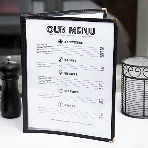 "Set of 25 - TrueCraftware Restaurant Menu Covers - 8 1/2"" x 11"" - Double Fold Cover - Double Stitched with Black Binding - Double Fold Menu Covers - Black Menu Holder for Restaurants - Double Panel"
