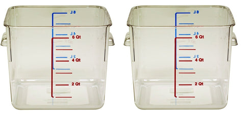 Rubbermaid Commercial 6306CLE SpaceSaver Square Containers, 6qt, 8 4/5w x 8 3/4d x 6 9/10h, Clear (2 PACK)