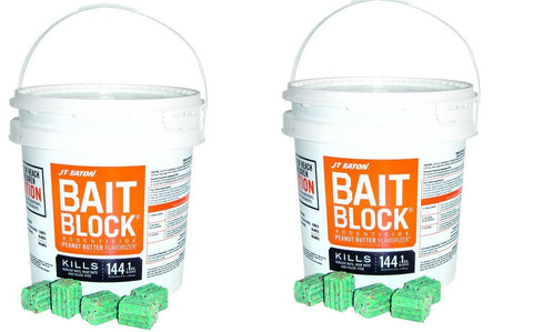 JT Eaton 709-PN Bait Block Rodenticide Anticoagulant Bait, Peanut Butter Flavor, For Mice and Rats (Pail of 144) (2 X 144)