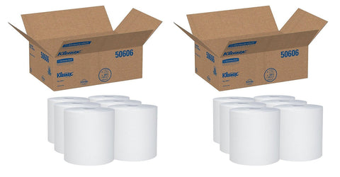 "Kleenex 50606 Hard Roll Towels, 8 x 600ft, 1 3/4"" Core dia, White (Case of 6 Rolls) (2 PACK)"