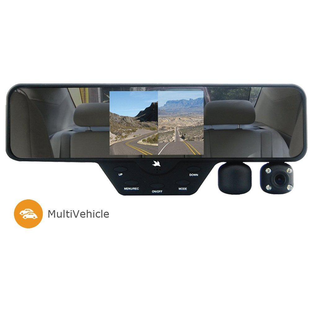 FALCON ZERO F360+ HD [Multi Vehicle Use] DVR DUAL 1080P DASHCAM, REAR VIEW MIRROR, 32GB SD CARD INCLUDED