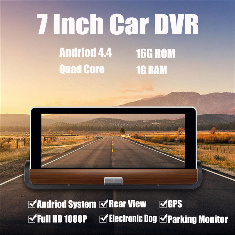 "7"" Wifi Car DVR Camera Android 4.4 GPS Navigation Video Recorder Bluetooth Dual Lens Camcorder Dash Cam Full HD 1080P"