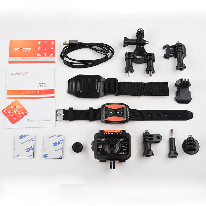 SOOCOO S70 WiFi 2K Sport Action Camera with Watch Remote Control+Waterproof USB Cable+extra 1pcs battery