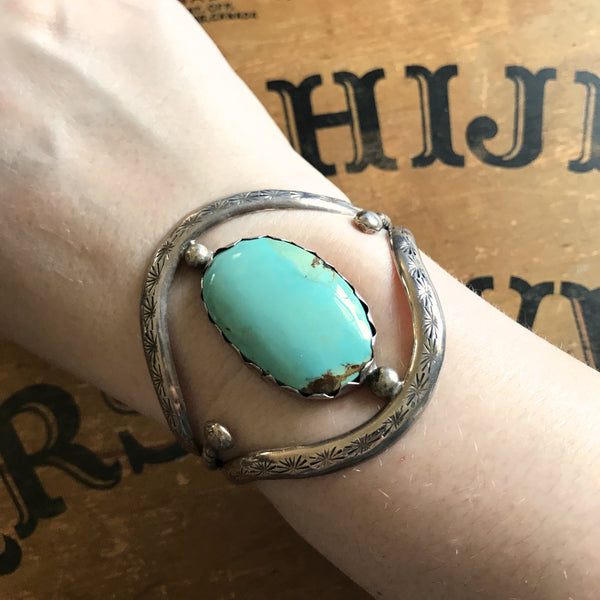 Open Work Vintage Turquoise Silver Bracelet Cuff