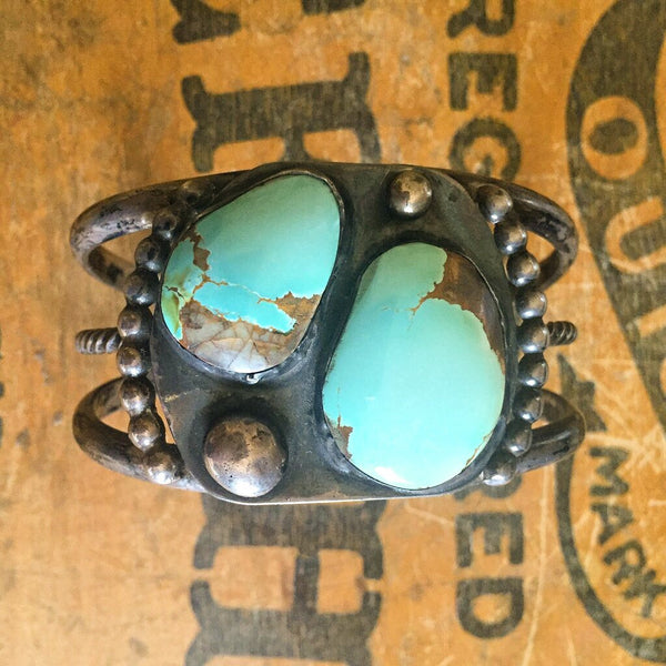 Vintage Number 8 Turquoise Silver Bracelet Cuff