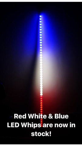 Red White & Blue Lighted LED Whip