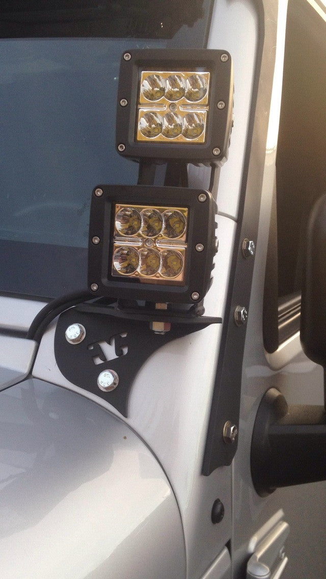 2007 - 2018 Jeep Wrangler JK LED Pod Pillar Mounts