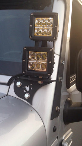 07 - Present Jeep Wrangler JK LED Pod Pillar Mounts