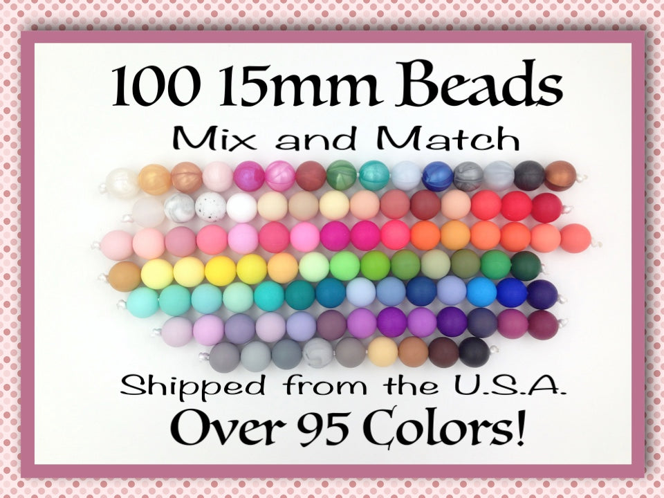15mm Bulk Silicone Beads--100