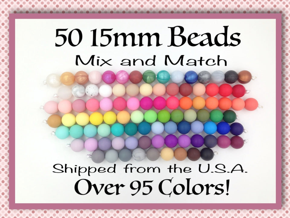 15mm Bulk Silicone Beads--50