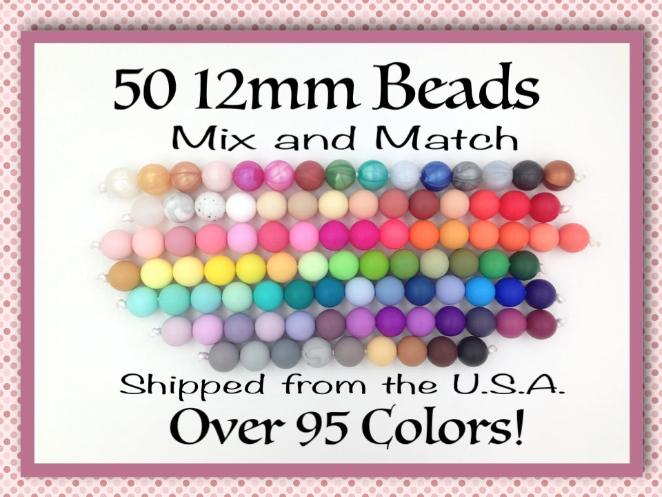 12 mm silicone pearl marble pink and white matching color pale pink