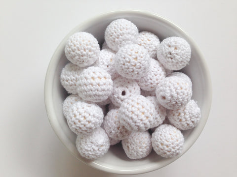 White Crochet Wood Beads