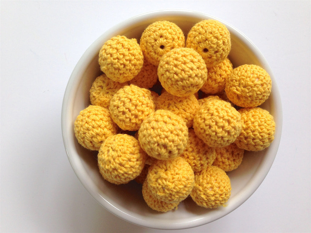 Yellow Crochet Wood Beads