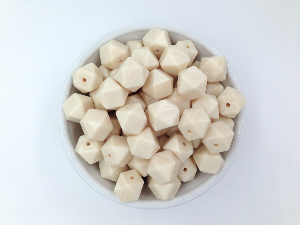 14mm Ivory Pearl Mini Hexagon Silicone Beads