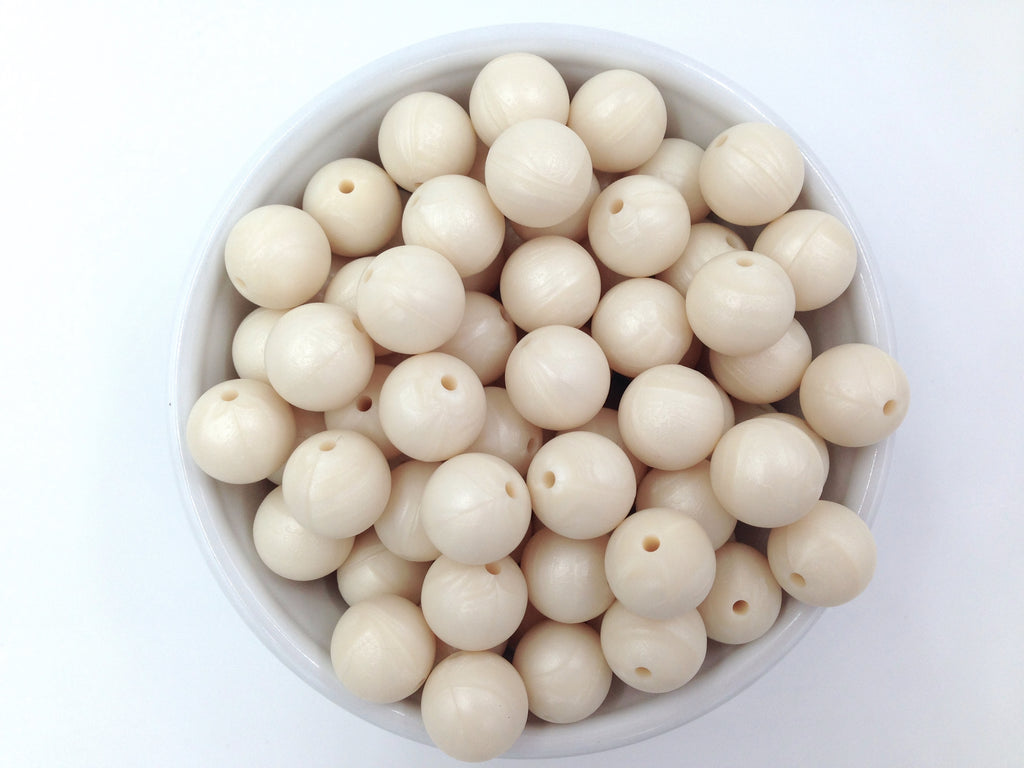 15mm Ivory Pearl Silicone Beads