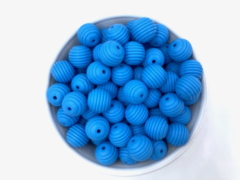 15mm Sky Blue Silicone Beehive Beads