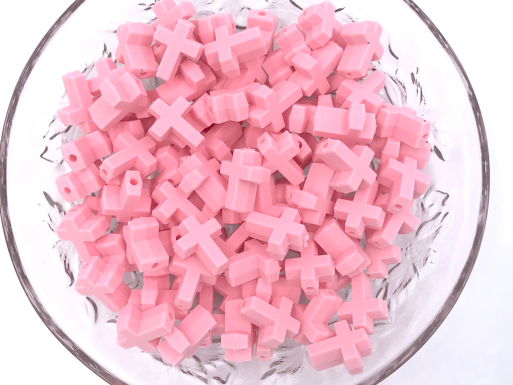 Pink Cross Silicone Beads